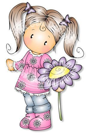 Digital (Digi) Chloe with Daisy Stamp - Birthday, Mothers Day, Spring, Easter. $2.70, via Etsy.