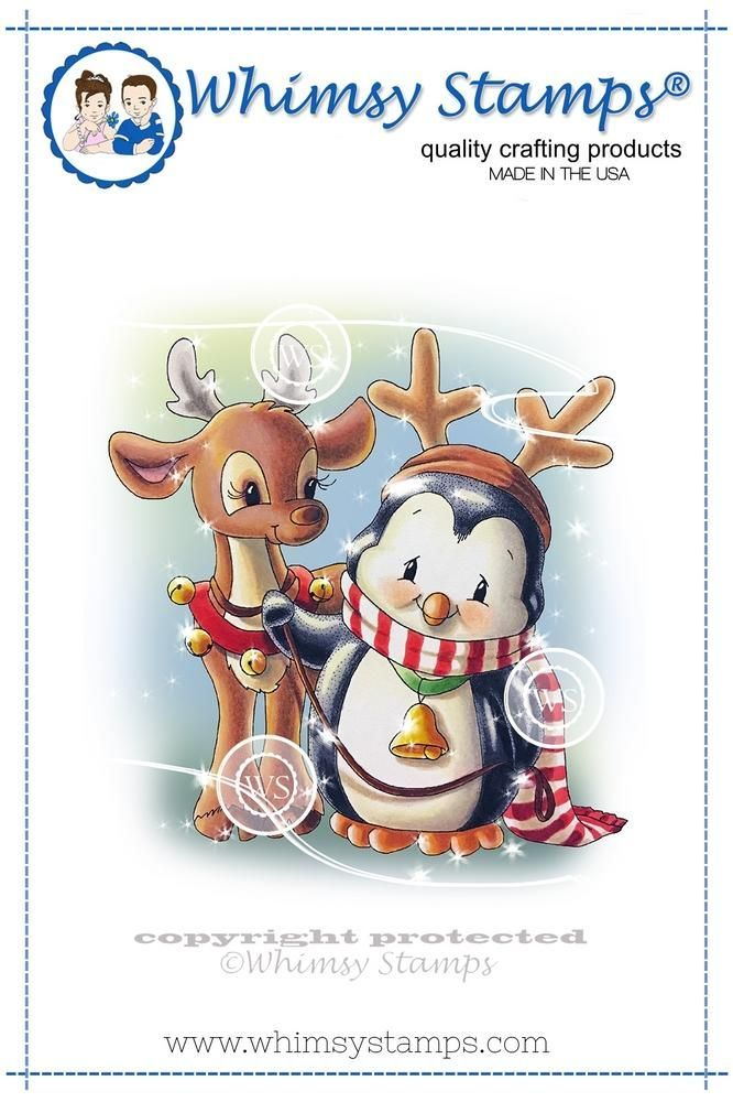 penguin and reindeer friend rubber