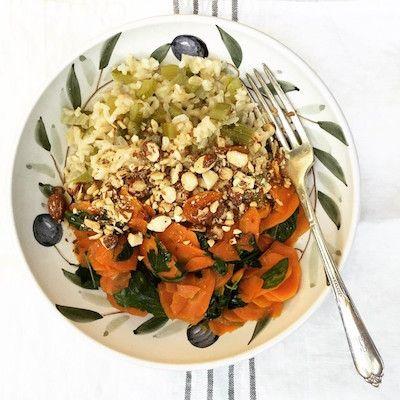 arroz integral com salsão  e cenoura refogada