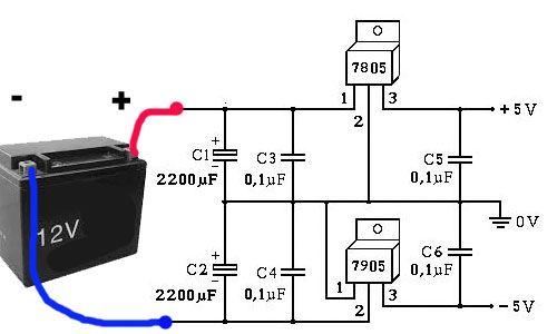 Fonte simétrica de 5 Volt