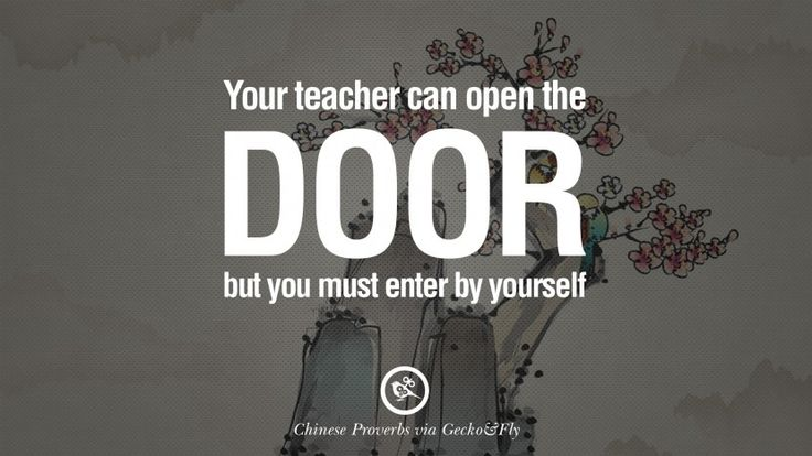 Your teacher can open the door, but you must enter by yourself. 35 Ancient Chinese Proverbs and Quotes on Love, Life, Wisdom, Knowledge and Success