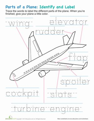 Kindergarten Fine Motor Skills Handwriting Coloring Worksheets: Airplane Parts