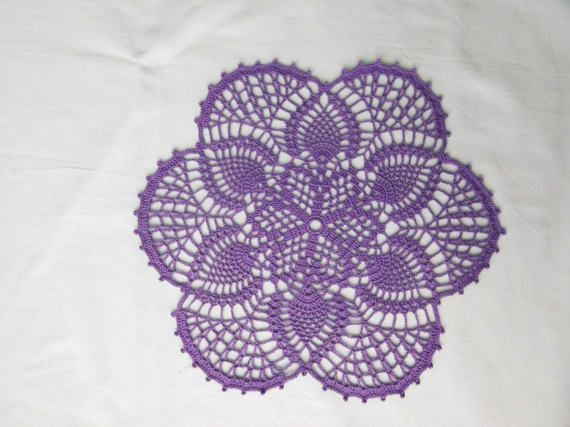 Round violet crochet doily 30cm or 11.81 by ThreadloveByEdith