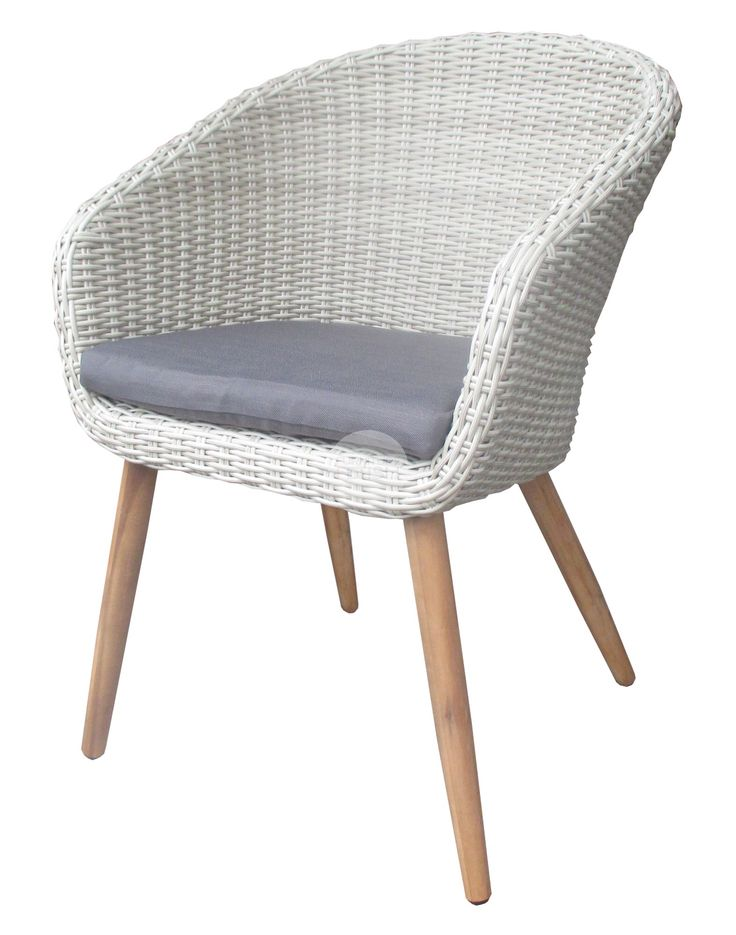 Euro Italia Outdoor Dining Chair - mixed white/light brown wicker, acacia wood legs
