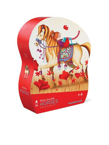 """36-piece Puzzle. Something special, high -quality floor puzzle in wonderful, heavy-duty, contour-shaped gift box. A slightly-recessed lid makes the storage box easy for little fingers to open. Rugged, jumbo pieces.  Puzzle is 20""""W x 27""""L. Box is 9""""W x 11""""H x 3""""D. #horse #puzzle #horsepuzzle #kids #red #crocodilecreek #floorpuzzle"""