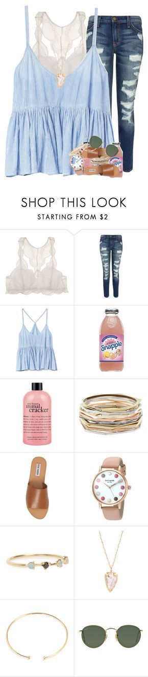 """young, wild, & free"" by ellaswiftie13 ❤ liked on Polyvore featuring Eberjey, Current/Elliott, Gap, philosophy, Kendra Scott, Steve Madden, Kate Spade, WWAKE, BaubleBar and Ray-Ban"