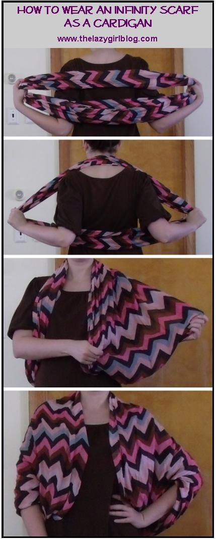 How to wear an infinity scarf as a cardigan.  Awesome alternative to a light…