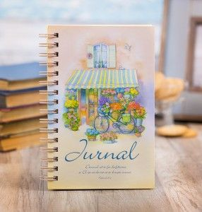 Colorful journal with christian message.