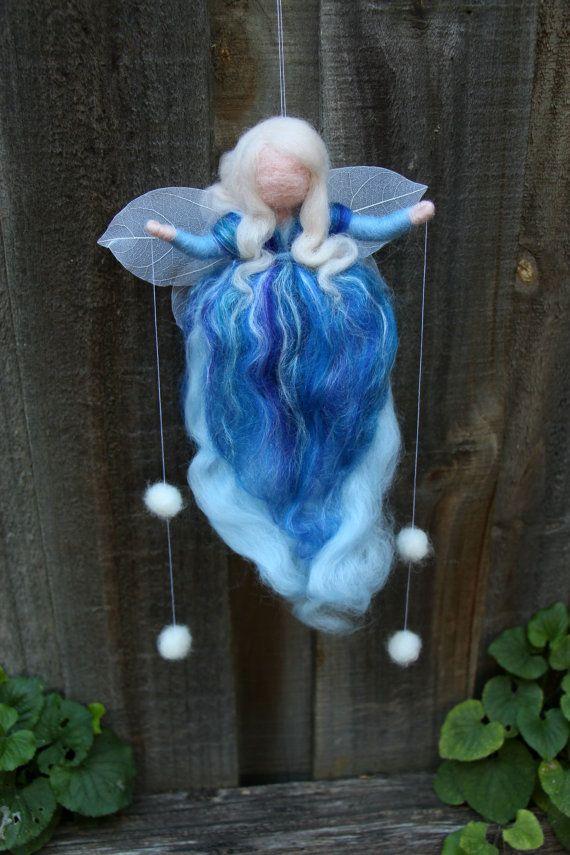 Blue Silk and Wool, Snow Angel, Winter Fairy, Waldorf, Needle Felted, Steiner, Hanging decoration, Birthday Gift