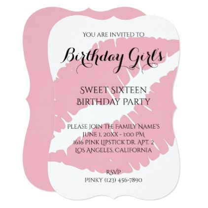 #Birthday Girl's Sweet Sixteen Pale Pink Lipstick Card - #birthdayinvitation #birthday #party #invitation #cool #parties #invitations