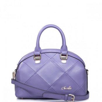 Damska skórzana torebka tote Purpurowa - Nucelle
