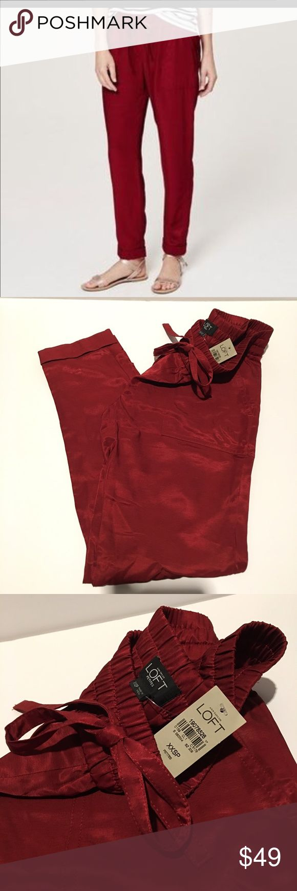 Ann Taylor LOFT- Red Jogger Pant Ann Taylor LOFT PETITES-NWT.  Red satin jogger, 100% Rayon.  Size XXSP. Super cute with sandals or loafers! LOFT Pants Track Pants & Joggers
