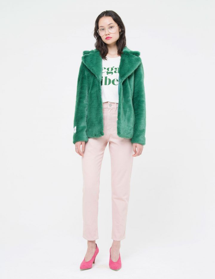 fc973111 HEATHER - Jade Green 70's style faux fur coat Soft luxurious faux fur. Jade  Green colour Fully lined Mid Length Collar Hook fastening at the front  Pockets ...