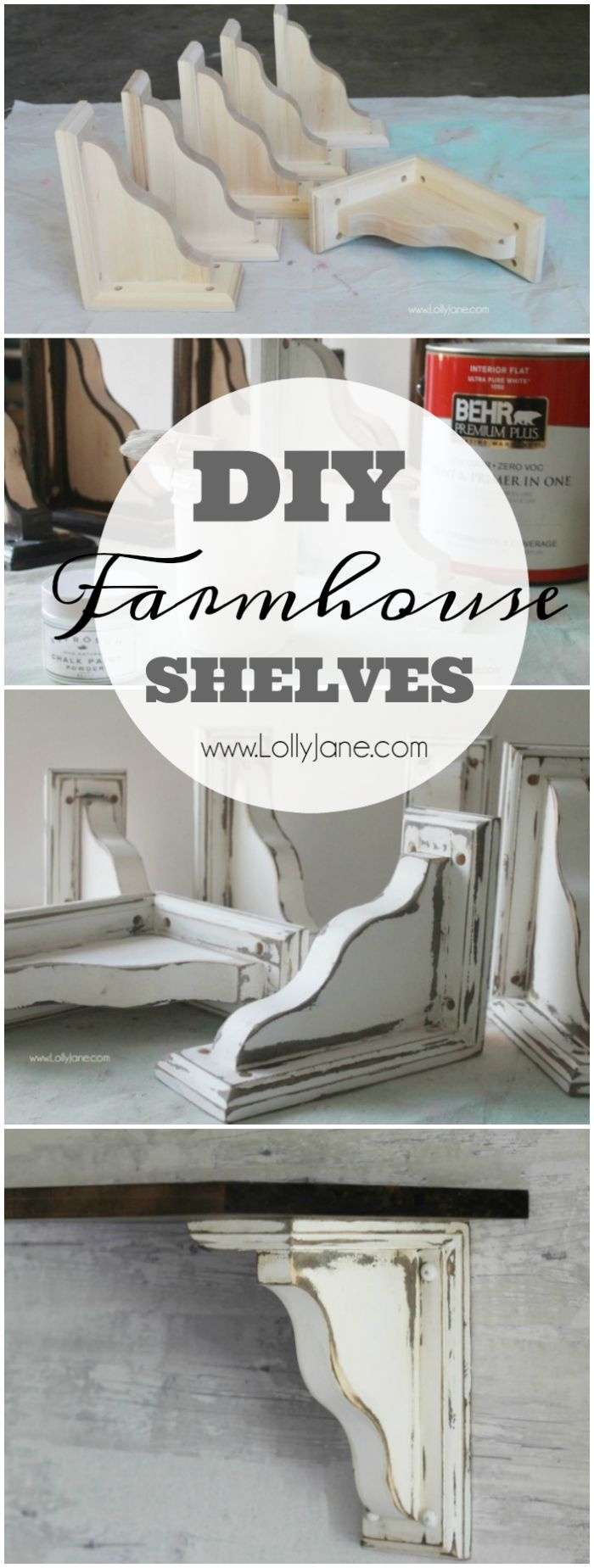 Pretty farmhouse dining room shelves, click through to see how easily the room came together. Step by step how to create this look! Pretty farmhouse dining room decor ideas! DIY farmhouse shelves using stain + paint!