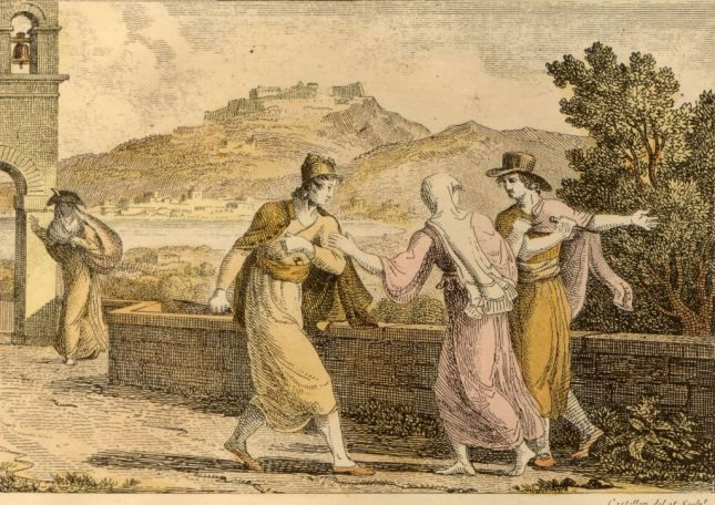 zante-costumes-  by Antoine laurent Castellan (1778-1833)  fron his book ¨Lettres sur la Morée et les îles de Cérigo, Hydra et Zante¨, Paris...