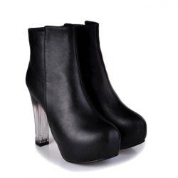 $16.07 Fashion Women's Black Short Boots With Crystal Heel and Round Toe Design