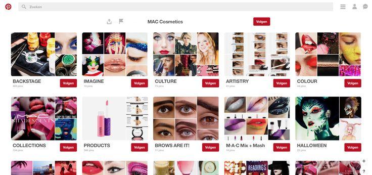 MAC cosmetic is zeer bekend merk voor make-up. Zij hebben zeker een goed communicatief gebruik op pintrest. Voor elk bord gebruiken ze ook een andere stijl van make up. Ze hebben meer dan 73 000 volgers, dus dit is zeker niet slecht. Bron: https://nl.pinterest.com/maccosmetics/boards/
