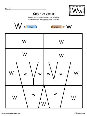 Lowercase Letter W Color-by-Letter Worksheet Worksheet.Fill your child's life with colors! The Lowercase Letter W Color-by-Letter Worksheet will help your child identify the lowercase letter W and discover colors and shapes.