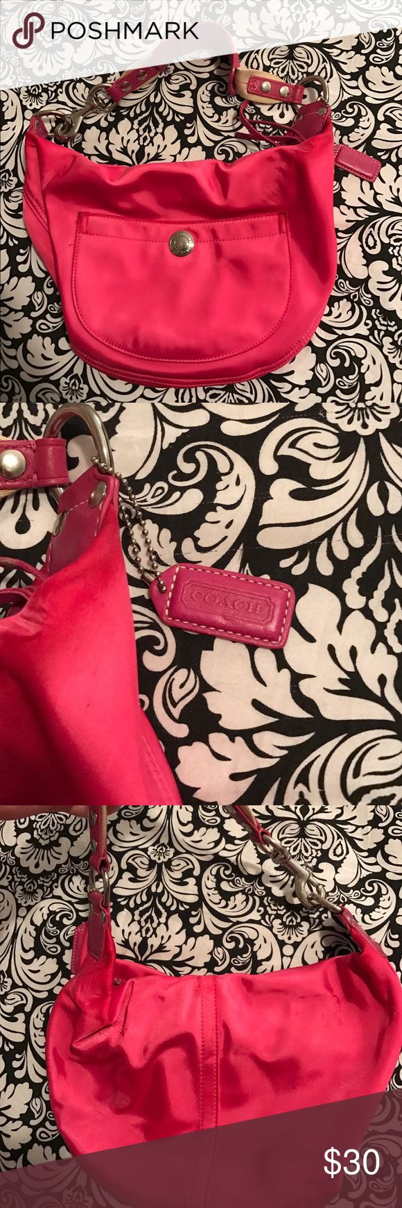 Hot pink Satin Coach purse Cute little purse, perfect for spring. In great shape. 👛 Coach Bags Shoulder Bags