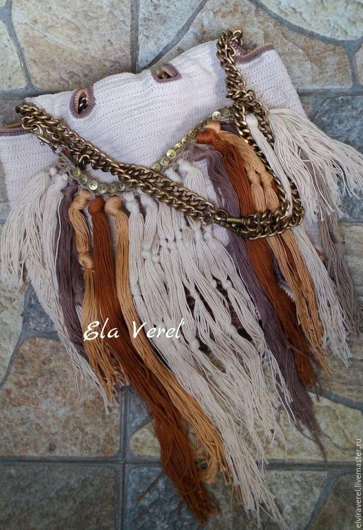 Купить Вязаная сумка '' ШАРЛИ Бохо-Шик''. - комбинированный, модный аксессуар, модная сумка