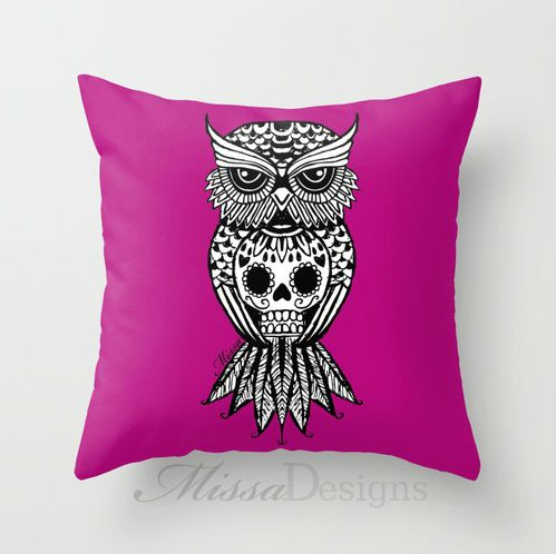 'Sugar Skull Hootle' cushion cover design Colourway: Pink with black owl. Design by Missa Designs. Copyright 2013