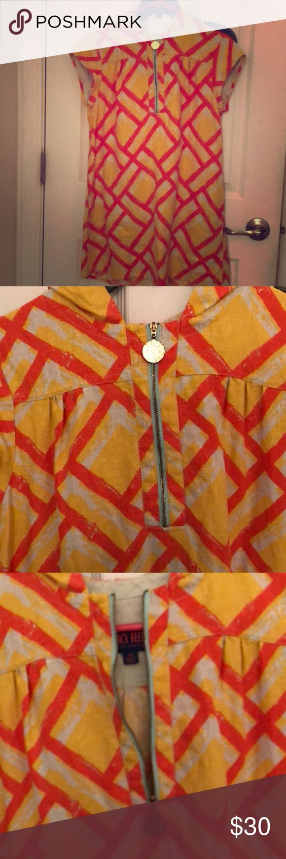 Vintage inspired sack dress Great summer dress!!! Vintage look with functional hood and functional zipper with capped sleeves! Light weight material! No stains or tears! Excellent condition only worn 2x from target tracey feith Dresses