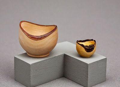 Barbara Jones - Natural edge pear wood bowl on left. Natural edge nandina wood bowl on right.