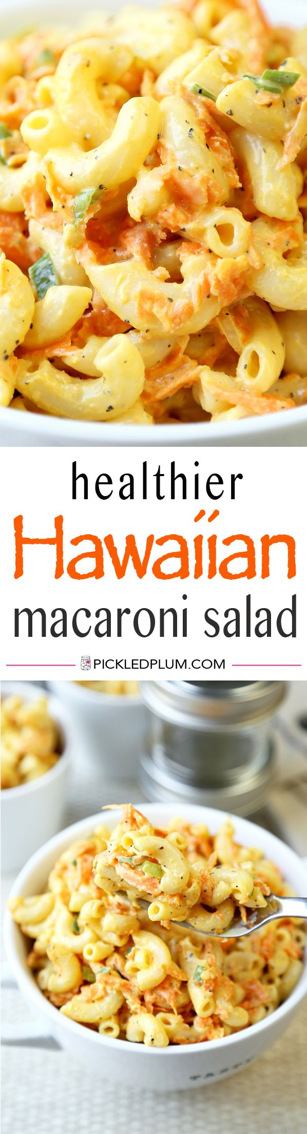 Healthier Hawaiian Macaroni Salad Recipe - tangy, sweet and creamy but with half the fat! Gluten free http://www.pickledplum.com/healthier-hawaiian-macaroni-salad/
