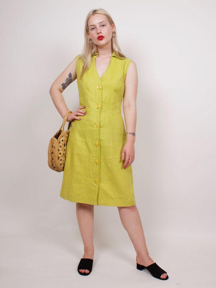 Vintage Chartreuse 100% Linen Sun Dress