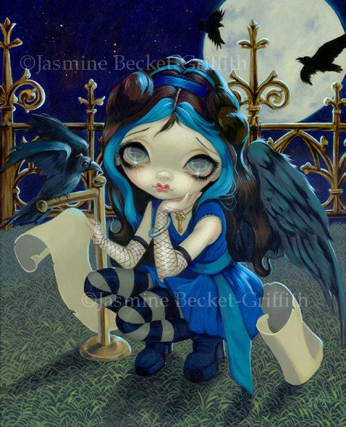 Quoth the Raven Nevermore goth poe fairy art print by Jasmine Becket-Griffith 8x10 on Etsy, $15.92 CAD