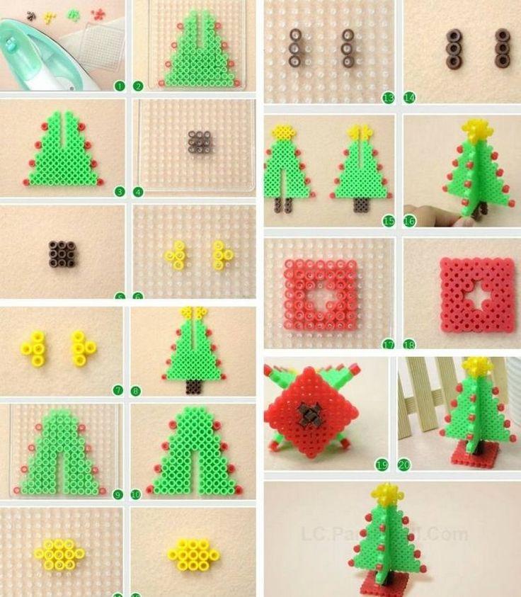 sapin de Noël en 3D en perles à repasser - idée superbe Plus