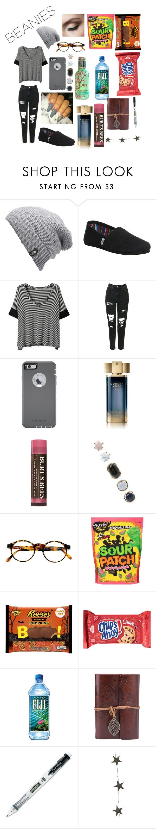 """""""Poetry Slam"""" by winter-n-rose ❤ liked on Polyvore featuring The North Face, TOMS, LE3NO, Topshop, OtterBox, Estée Lauder, Burt's Bees, Forever 21, François Pinton and Paper Mate"""