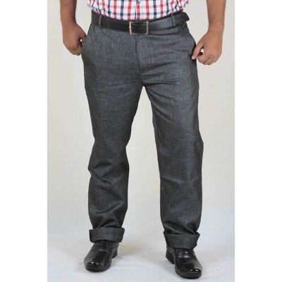 Buy DMARK Black Lycra Linen Trouser For Men Online