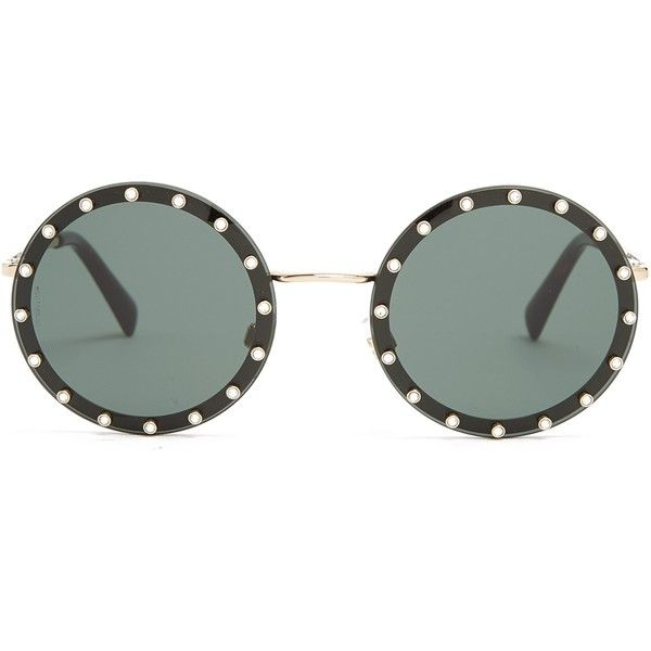 Valentino Crystal-embellished round-frame metal sunglasses (4.685 ARS) ❤ liked on Polyvore featuring accessories, eyewear, sunglasses, black, valentino sunglasses, tortoise shell sunglasses, round metal sunglasses, metal sunglasses and round lens sunglasses