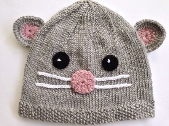 Hand-knitted Mouse Hat for babies. Knitted Gray by NoahandNoo