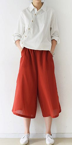 2016 fall red cotton skirt pants plus size