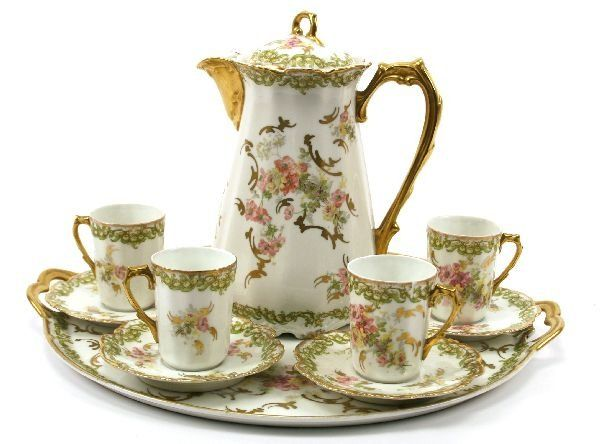 Limoges China | ANTIQUE LS LIMOGES CHINA COFFEE SET : Lot 10069