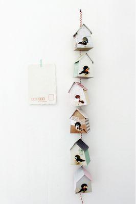 DIY paper robots and birdhouses. Paper birdhouse papieren vogelhuisje diy babykamer kinderkamer children kids room nursery