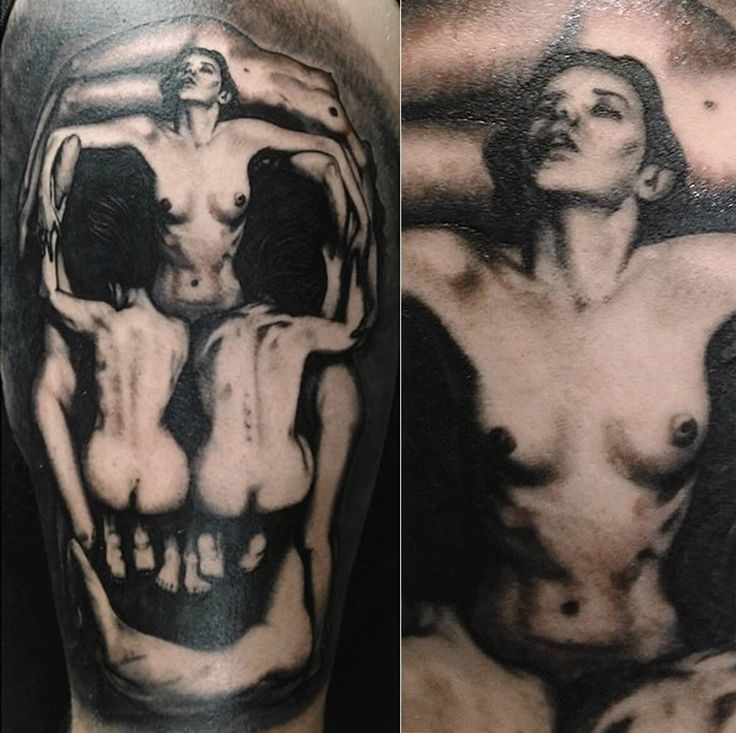 """a tattoo replica of Salvador Dali's """"In Voluptate Mors"""" (1951),  by Marshall Tattsmith"""