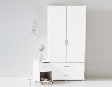 Flexa Classic High Double Wardrobe - White   Diddle Tinkers
