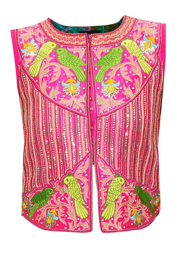 SURABHI ARYA Pink bird embroidered jacket available only at Pernia's Pop-Up Shop.