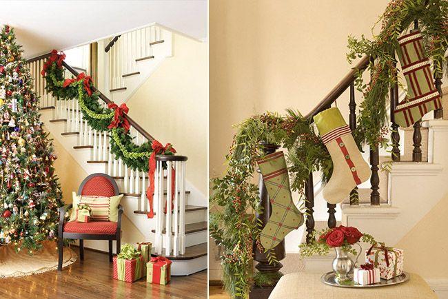 C mo decorar una escalera para navidad para recibir la for Como decorar la pared de una escalera