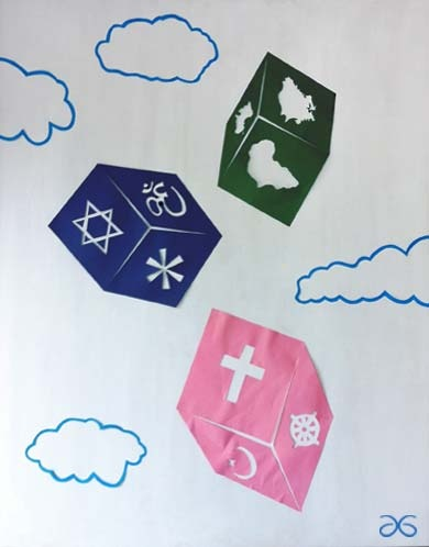 Faith or Chance, is the name of this artwork. The pink dice = mother, the blue = father and green = place of birth. I selected the six most popular religions and included eurasia make six continents.