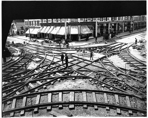 Tramway crossing under construction, Ste. Catherine and St. Lawrence St., Montreal, QC, 1893