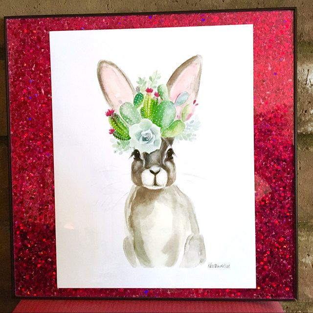 Bebe Lapin Aquarelle Impression Watercolor Print Floral