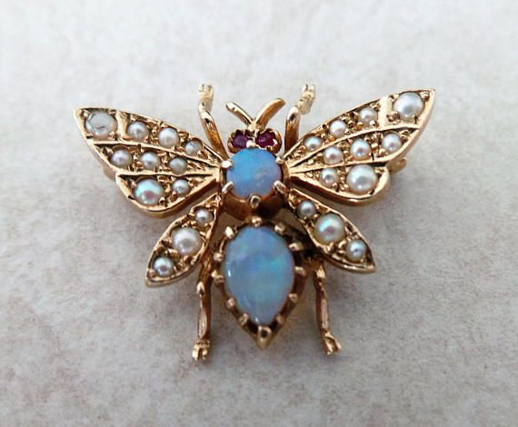 4a1f6fedd5d Vintage 9 Carat Gold Opal, Ruby And Seed Pearl Art Deco Style Bee Brooch/Pin