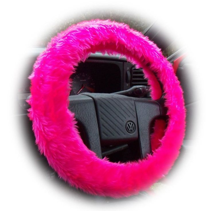 Furry Fuzzy Barbie Pink fluffy steering wheel cover Hot pink faux fur girly girl cute car accessories