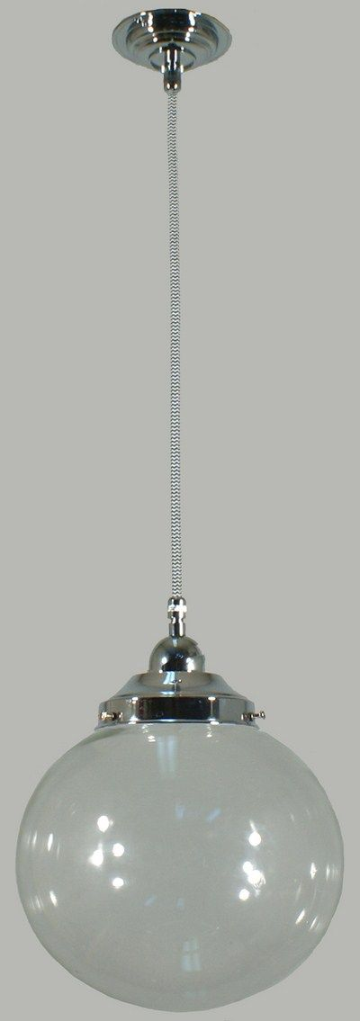 Chrome Cloth Suspension Light with Clear Sphere 8