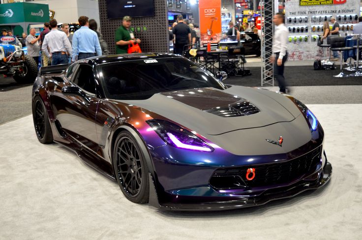 """Is this rocket from another planet? Our friends at #AtlantaCustomWraps built the insane """"Overkill"""" #Chevrolet #C7 #Z06 #Corvette and wrapped it in 3M Graphics' Deep Space & Dead Matte Black. Their beautiful Corvette is equipped with Procharger's F1R blower and Nitrous Express direct port nitrous/methanol injection kit, and is also fitted with an RK Sport carbon fiber ground effects kit and rolls on #Forgeline #DE3C Concave wheels finished with Matte Black centers and Gloss Black inners…"""