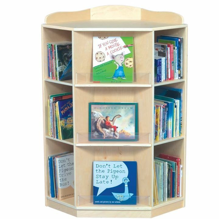 Guidecraft Corner Book Nook Guidecraft Corner Book NookStylish,  Single Sided Bookcase Fits Flush Against Walls, Has 6 Display Shelves Each  Approximately